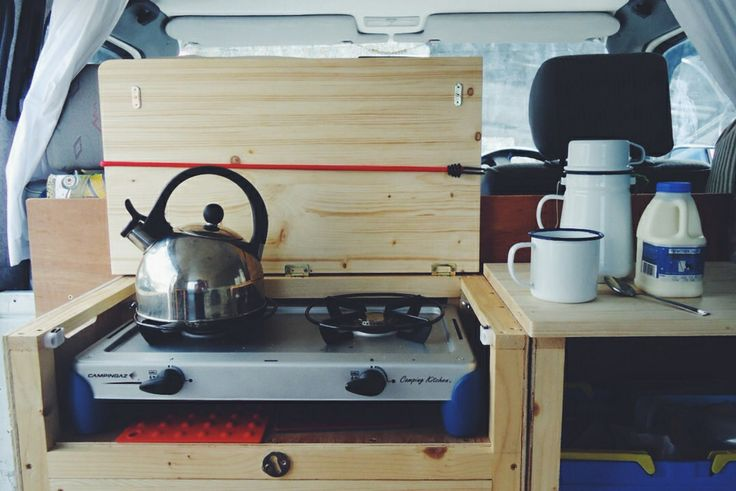 Brewing-up in our VW T4 Transporter campervan. Photo by Natalie Coe (@Lynn Helms Bear Bean)