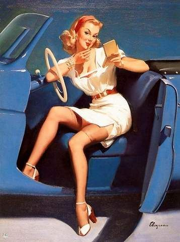 pin up in car