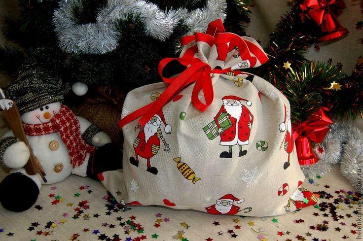"""Купить Новогодний подарочный мешочек """"С Новым годом!"""" - льняные изделия, мешочки для подарков"""