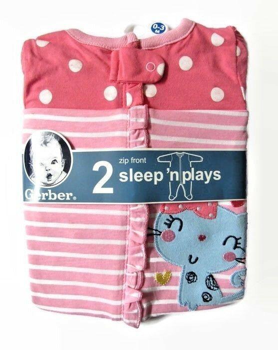 7e992549a Gerber Girls 0-3 M Sleep N Play One Piece Footed Long Sleeves Zip Front 2  Pack  Gerber  OnePiece
