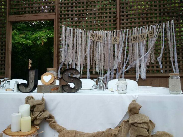 Sherri + Joe's head table. All decor was DIY by the bride