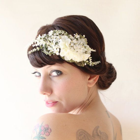 Bridal hair band Floral fascinator wedding crown by whichgoose, $75.00