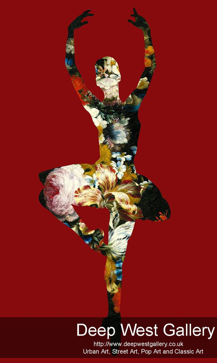 """En dedans pirouette avec des fleurs (Red )  Price£650.00 By Agent X     The Artwork """"En dedans pirouette avec des fleurs"""" deals with the theme of Ballet. (Gold&red)   40"""" x 24"""" inch or 101 x 60 cm Edition of 10  Signed 