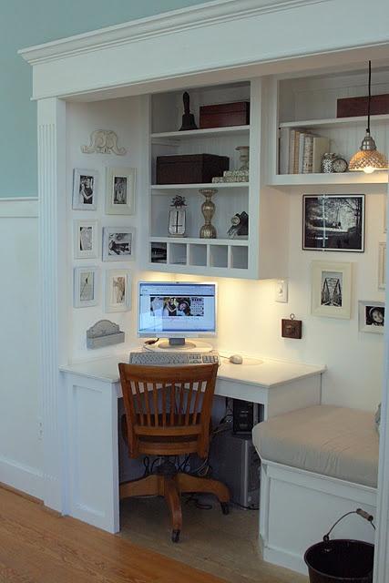 Closet workspace: Ideas, Office Spaces, Built Ins, Offices, Office Nook, Home Office, Closet Office, Desk