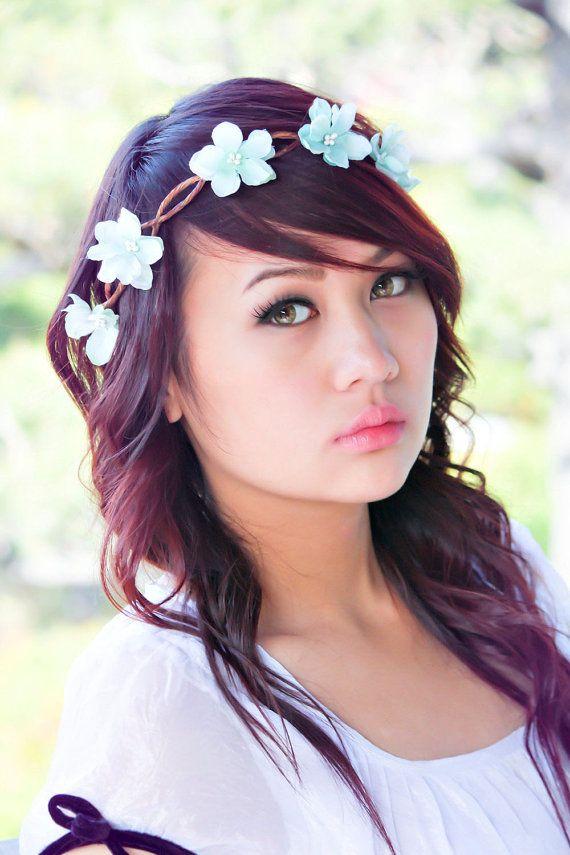 flower hair crown bridesmaid headpiece sea foam by serenitycrystal, $30.00
