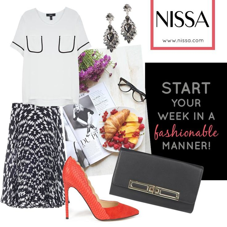 NISSA Outfil  #Monday #Fashionable  www.nissa.com  #nissa #outfit #office #morning #week #start #look #style #fashion #inspiration #shoes #heels #skirt #print #graphic #top #bw #clutch #accessories #earrings