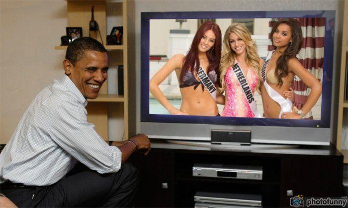 Alicia Endemann Miss Germany, Nathalie den Dekker Miss Netherlands and Laura Beyne Miss Belgium watch live Obama