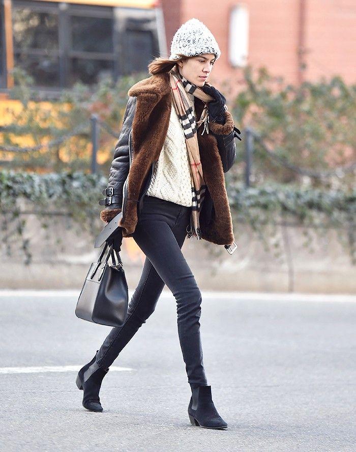Alexa Chung in Acne Studios coat, Burberry scarf, Louis Vuitton bag - In New York.  (January 2016)