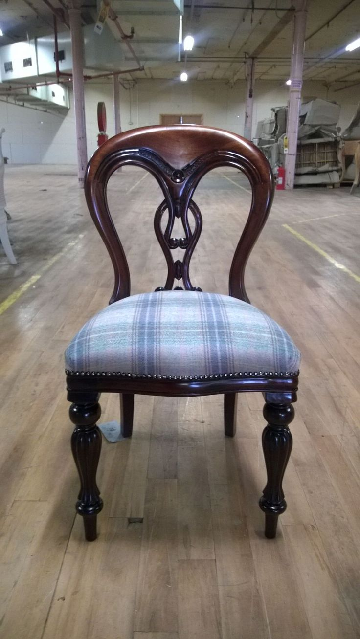 Antique victorian dining chairs - Fiddleback Dining Chair In Mahogany With Tartan Fabric