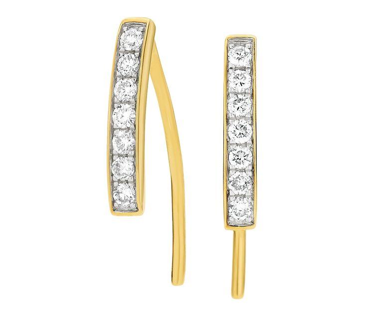 9ct Yellow Gold Diamond Bar Earrings, Earrings, SJ3295