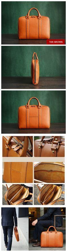 Custom Handmade Italian Vegetable Tanned Leather Briefcase, Messenger Bag, Laptop Bag