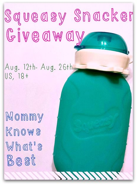 Squeasy Snacker Giveaway (Ends 8/26) Marissa from Mommy Knows What's Best really loves using reusable food pouches for her kids. Thanks to Squeasy Gear, she was given the chance to review the Squeasy Snacker Food Pouch, and she loves it!  Check out her review here. The review includes a video, showing how easy it is to fill the Squeasy Snacker!