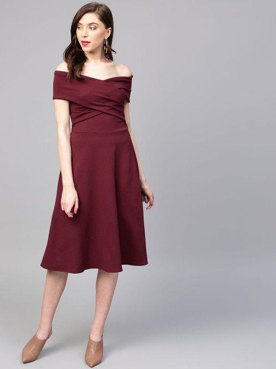 Zastraa Womens Off Shoulder Black Striped Dress