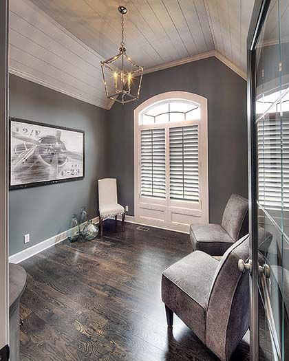 What Kind Of Paint Do I Use In A Bathroom: Shiplap Ceiling, White Shiplap, Vaulted Study
