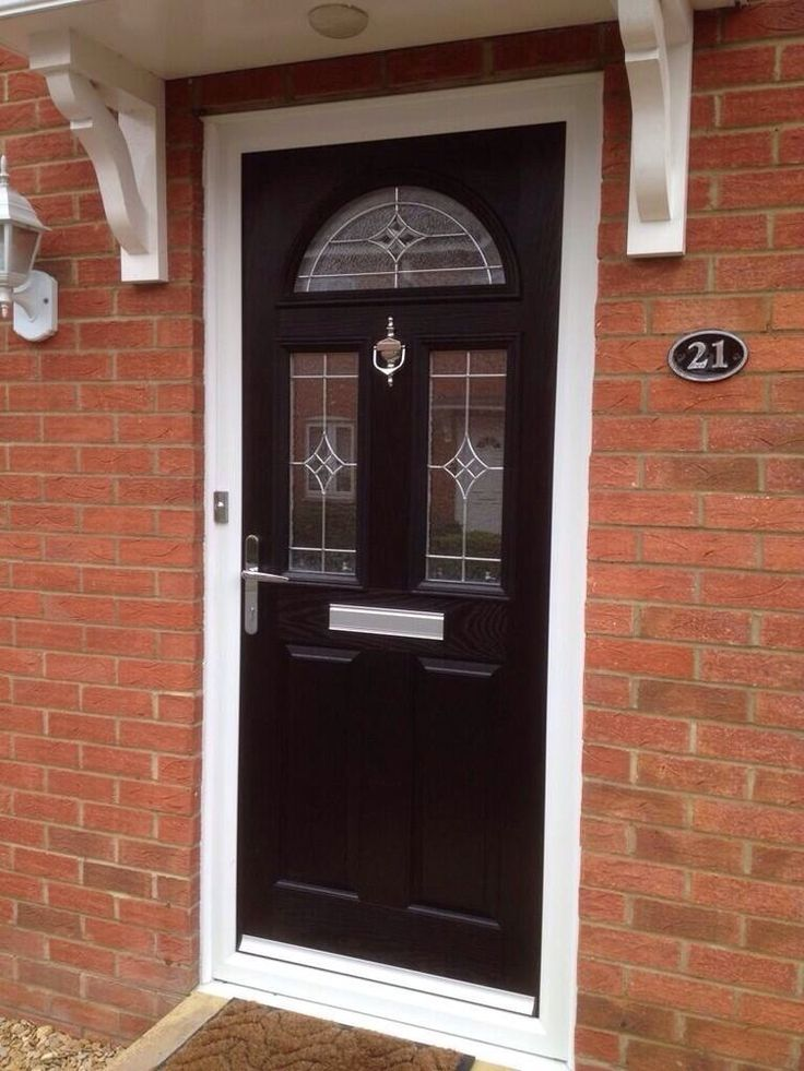 Upvc black colour composite front door made to measure for Upvc glass front doors