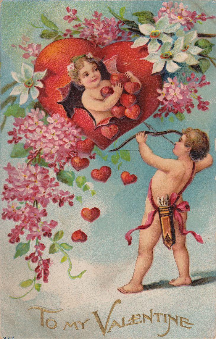 Wings of Whimsy: 1910 Cherub Flirts Valentine