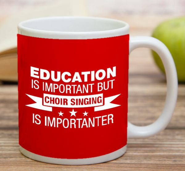 """""""Education Is Important But Choir Singing Is Importanter""""    """"Bride In Training""""    High quality 11 oz ceramic mugs, microwave and dishwasher safe.   Delivery.  All mugs are custom printed within 2-3 working days and delivered within 3-5 working days.  Express delivery costs $4.95 for the first item or if buying 2 or more items delivery is FREE!"""