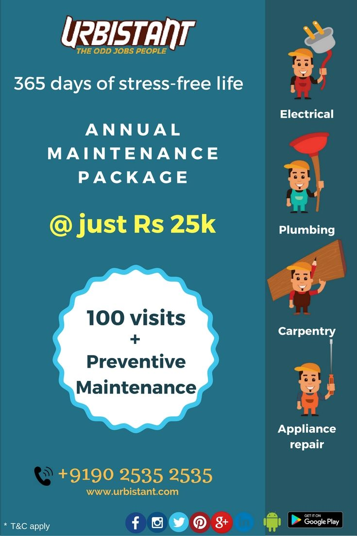 Urbistant believes in making life simpler for you. Which is why we are here serve you all round the year.  Try our new Annual Maintenance Package for Business! Call Urbistant 9025352535 or book via www.urbistant.com/booking Package covers  #electrical #plumbing #carpentry #homeapplianceservice #OddJobsPeople #Convenience @Nammachennai #Chennai #repair #service #iLoveLazy #UrbanLife #Stressfree