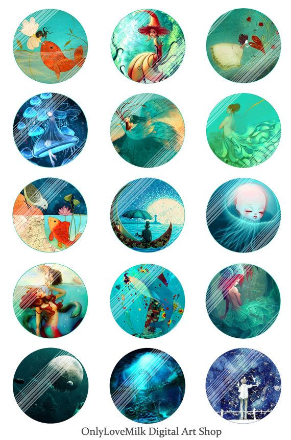 Fairy Tale Dream Digital Collage Sheet,1 inch Illusion Cartoon Paradise Printable Circles Download,Round Image,Pendant,Cabochon,Bottle Caps