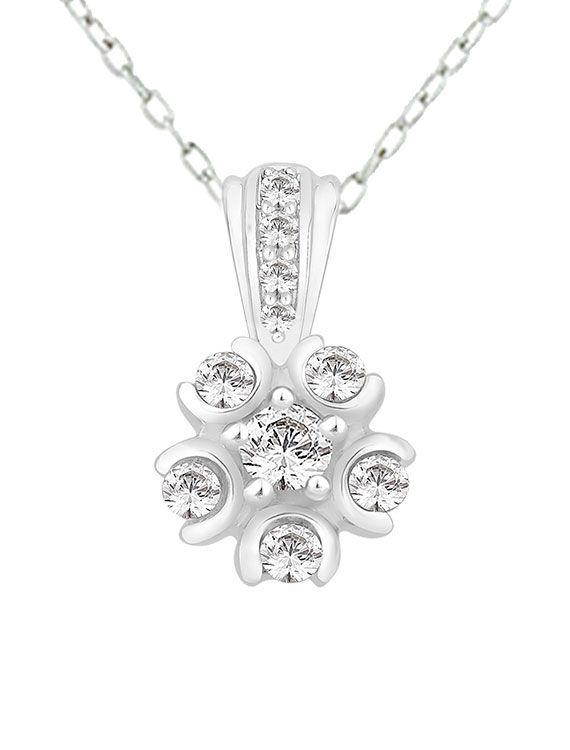 Rhodium Plated Silver & Swarovski Zirconia Flower Necklace