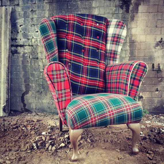 Unique Quirky Vintage Kilt Mixed Tartan by MinistryofUpholstery and I bet Jess could do this!!