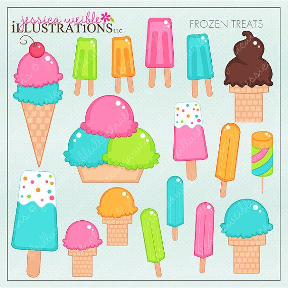 Frozen Treats Cute Digital Clipart for Card Design, Scrapbooking, and Web Design on Etsy, $5.00