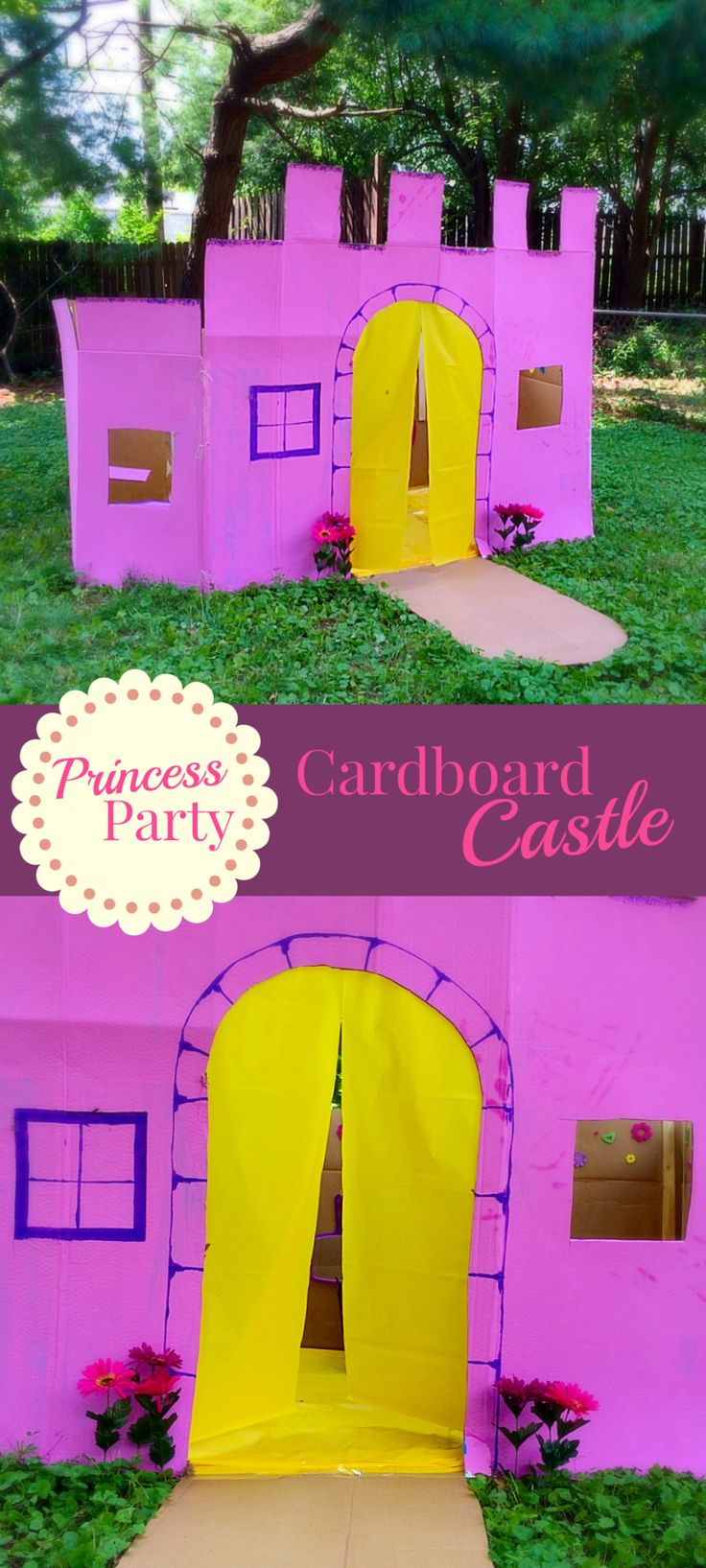 Cardboard play castle tutorial. Step by step guide to make a cardboard building. Perfect for a princess birthday party.  The Ultimate Pinterest Party, Week 58