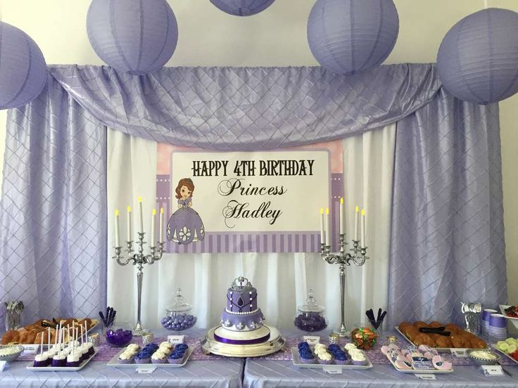 Purple Sofia the First birthday party! See more party planning ideas at CatchMyParty.com!
