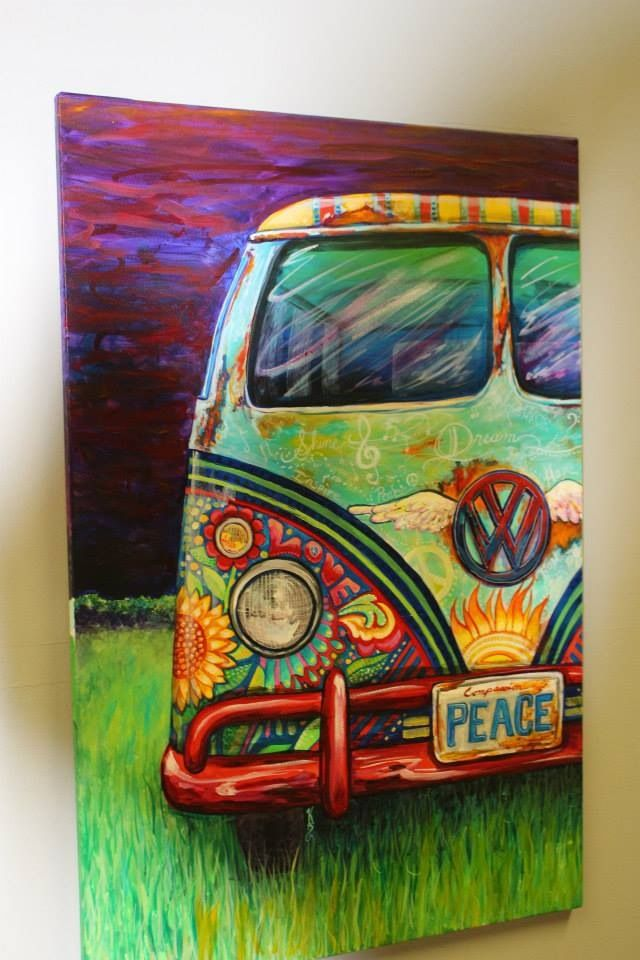 """Peacemobile"" VW Hippie Bus Created by Kerian Babbitt Massey keriansart.com"