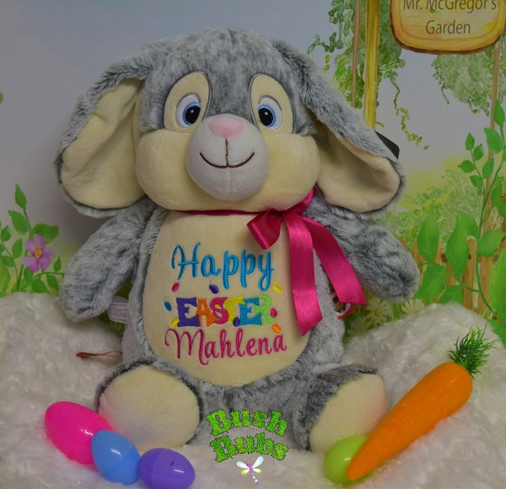 Embroidered Personalised Bunny Cubbie for bubs first Easter at Bush Bubs Clothing & Embroidery