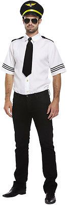 M/l mens airline #aeroplane pilot outfit #shirt hat black tie #fancy dress costum,  View more on the LINK: http://www.zeppy.io/product/gb/2/291153759837/