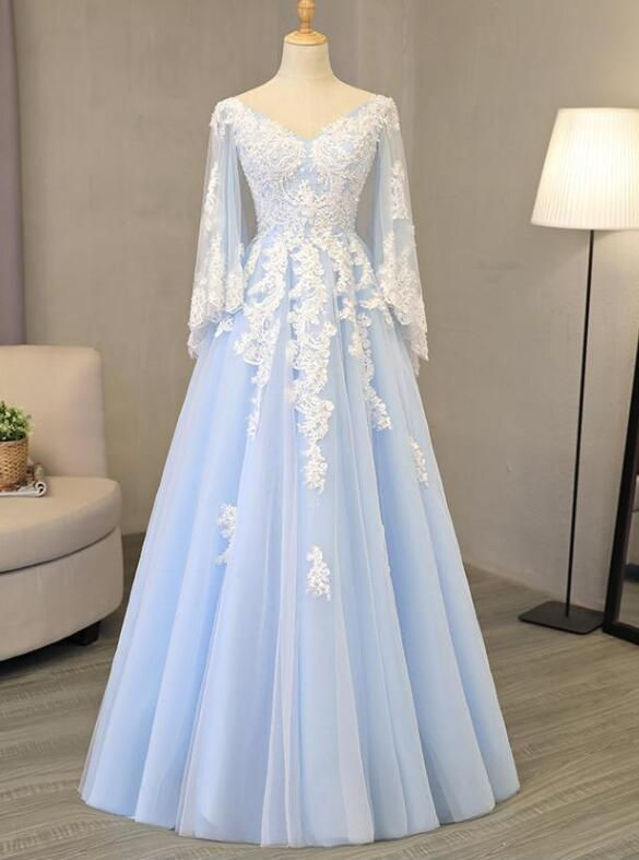V Neck Light Blue Tulle Prom Dress Lace Appliques A-line Evening Gowns by prom d…