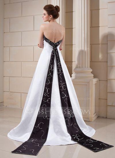 A-Line/Princess Strapless Court Train Satin Wedding Dress With Sash Beading (002000068)