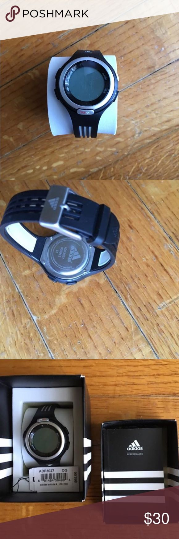 adidas ADP3027 unisex/womens sports watch Brand new with tags. Just needs a battery. Come with box, watch ring and manual. Originally $65  Battery replacement:  They are standard 3V CR2032 button cells used in car central locking/alarm fobs. Costs around $4-5 but having a jeweler do it for around $15 is usually easier. adidas Accessories Watches