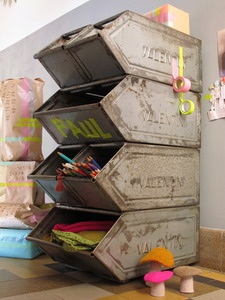 Industrial and creative storage for craft supplies