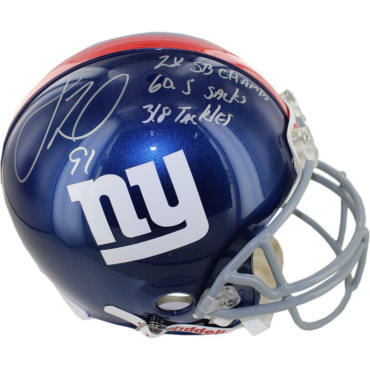 Justin Tuck Signed Giants Full Size Authentic Helmet w 2x SB Champs 60.5 Sacks 318 Tackles insc - Giants former Defenisve End Justin Tuck has personally hand-signed this Giants Full Size Authentic Helmet and inscribed it 2x SB Champs60.5 Sacks318 Tackles-Ever since he came into the National Football League in 2005 Justin Tuck was a beloved fan favorite as a member of the New York Giants. While in New York he was a two-time Pro Bowl Defensive End for the New York and captured two Super Bowl…
