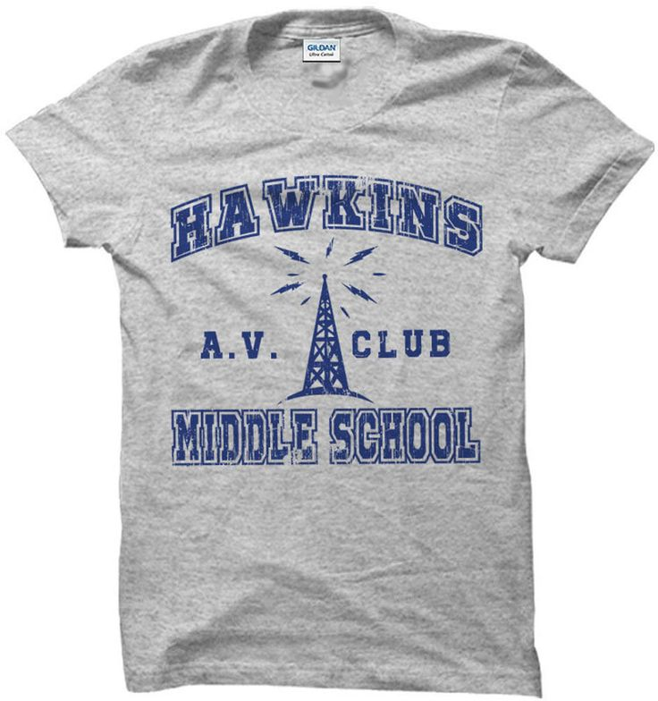 Details about Stranger Things Shirt T-Shirt Hawkins Middle School AV Club Costume Apparel