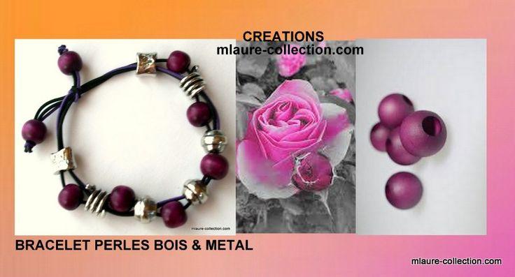 Un bracelet ,  création  by mlaure collection :  Bracelet réglable avec des perles en bois coloris violet et des perles fantaisies en métal. Montage original sur élastique , coloris noir et violet et fermeture par un noeud coulissant , pour s'adapter à votre poignet.