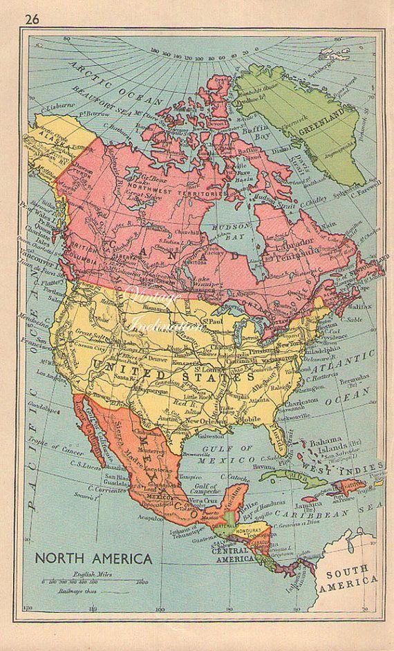 Vintage 1949 North America Map US USA antique atlas map Maps