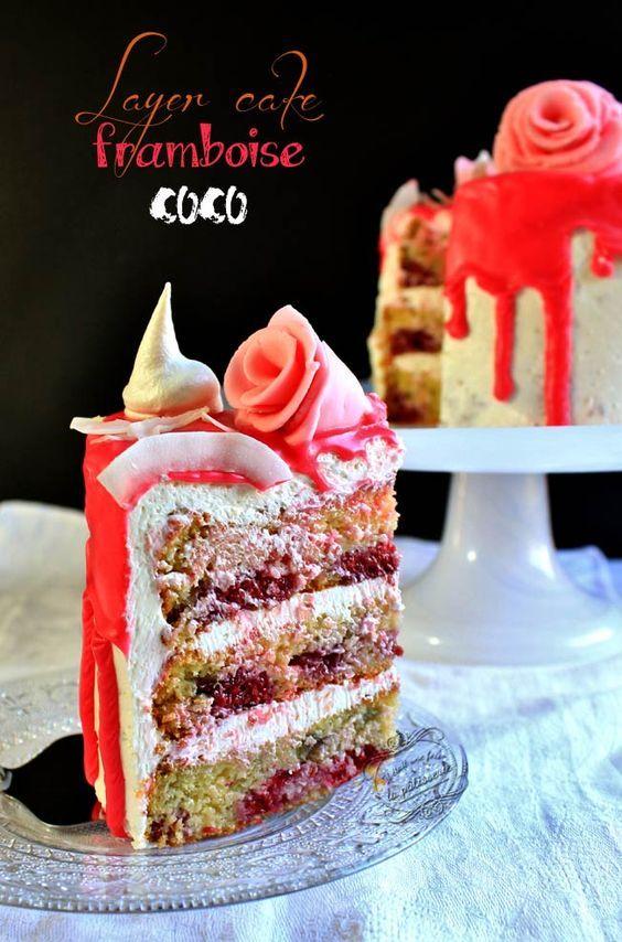 Gâteau d'anniversaire framboise coco ~ Layer cake