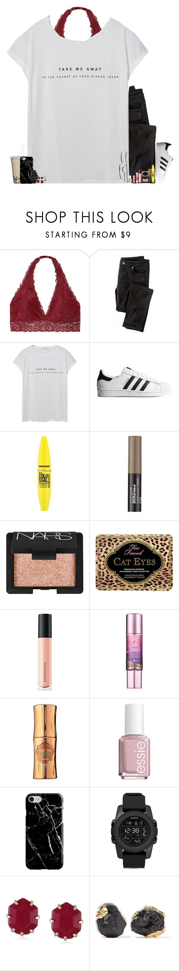 """""""Casually Debating whether or not I should get clothes online or in stores?"""" by carolinefcaron ❤ liked on Polyvore featuring Victoria's Secret, Wrap, MANGO, adidas Originals, Maybelline, NARS Cosmetics, Too Faced Cosmetics, Bare Escentuals, Hoola and Essie"""