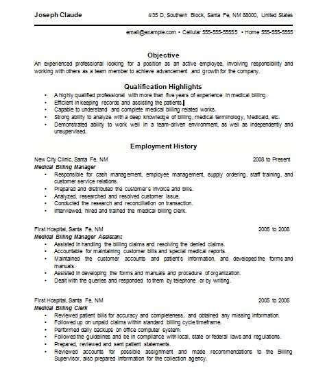 37 best resume images on Pinterest Resume, Sample resume and - Medical Biller Resume