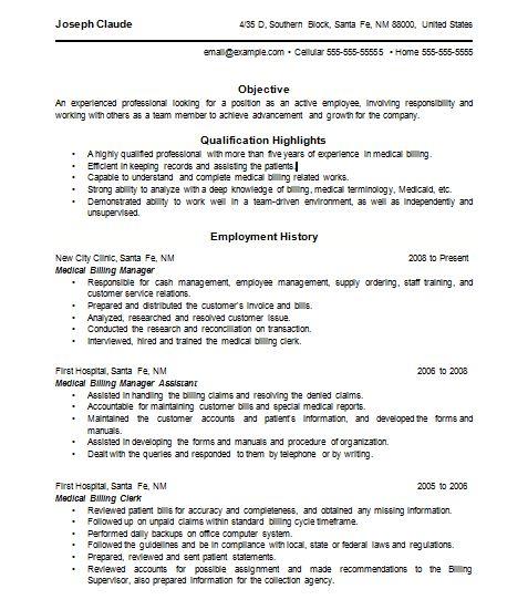 37 best resume images on Pinterest Resume ideas, Medical billing - medical biller resume