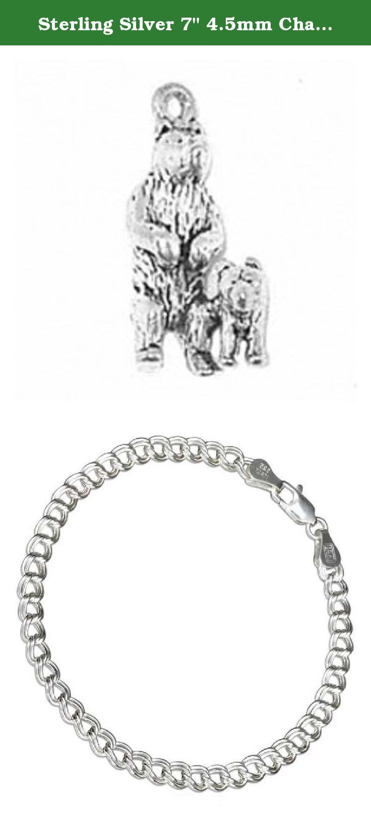 "Sterling Silver 7"" 4.5mm Charm Bracelet With Attached 3D Standing Mother Bear And Cub Animal Charm. Sterling Silver 7"" 4.5mm Italian Made Charm Bracelet With Attached 3D Standing Mother Bear And Cub Charm. These Bears Could Be Brown Or Black Bears. Material: .925 Sterling Silver Dimensions: Height: 11/16"" Front Width: 3/8"" Side Width: 7/16"" Units Sold By: Single SKU#: A35983T-BR452 Charm Made In: United States All Measurements Are Approximate ."
