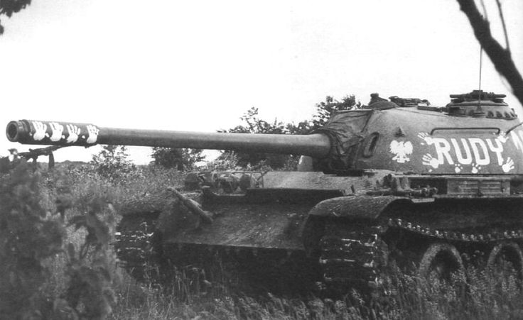 """This T-54A has markings like T-34/85 """"Rudy 102"""" from famous Polish tv series """"Czterej pancerni i pies"""" (Four tankmen and dog)"""