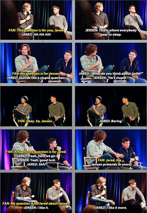 Jared and Jensen supernatural convention GIFset