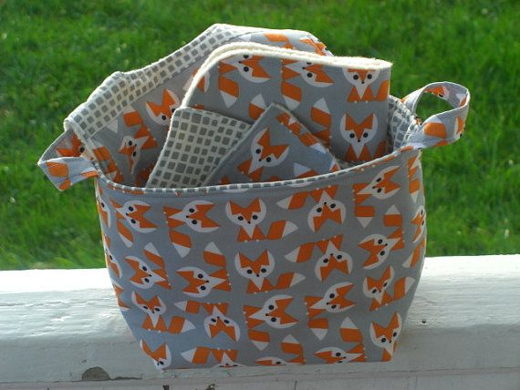 Fox Gift Set, Baby Gift Set, Fabric caddy, Bin, Orange, Gray, Baby Bib, Free…
