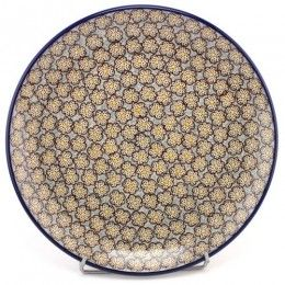 Polish Pottery Dinner Plate 9.8'' (25 cm) Dotty Brown Flowers