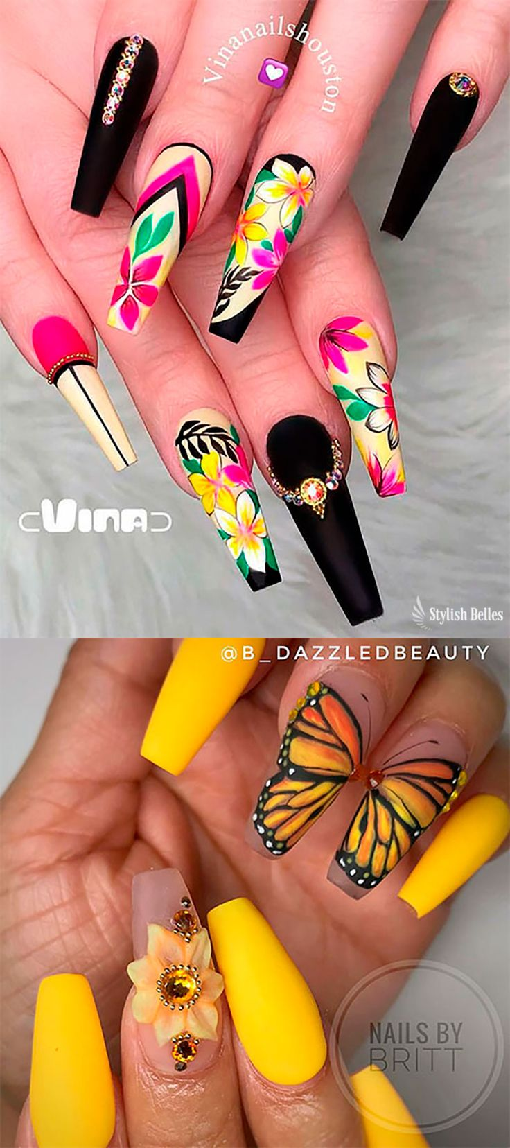 Cute coffin shaped floral and spring butterfly wing nail art ideas