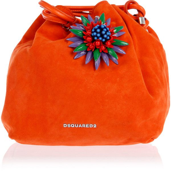 Dsquared2 Bucket Bag with Jewel Detail ($695) ❤ liked on Polyvore featuring bags, handbags, shoulder bags, orange, jewel purse, orange handbags, shoulder bag purse, shoulder handbags and jeweled handbags
